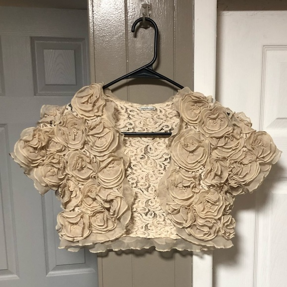 Charlotte Russe Sweaters - Floral Nude Shrug